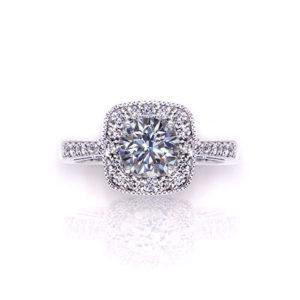 Millgrain Halo Engagement Ring