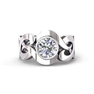 Scrolling Diamond Engagement Ring