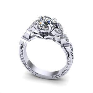 Diamond Petal Engagement Ring