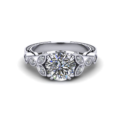 Diamond Petal Engagement Ring