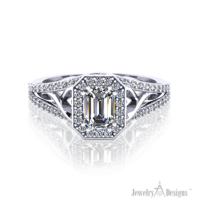 ER325-2 Emerald Cut Diamond Halo Ring