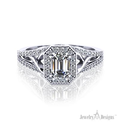 ER325-2 Emerald Cut Diamond Halo Ring
