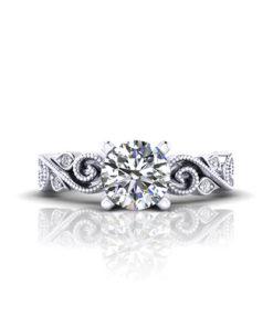 Scrolling Milgrain Engagement Ring