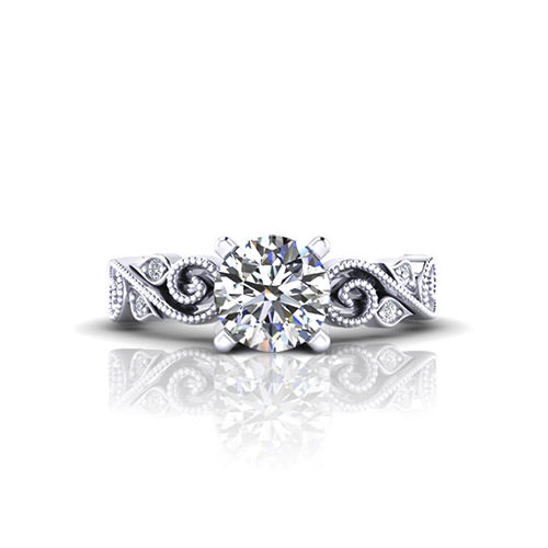 Scrolling Milgrain Engagement Ring