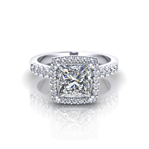 Princess Halo Engagement Ring
