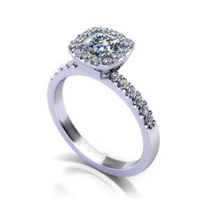 Cushion Shape Halo Engagement Ring