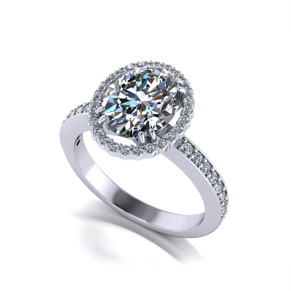 Oval Diamond Halo Engagement Ring Jewelry Designs