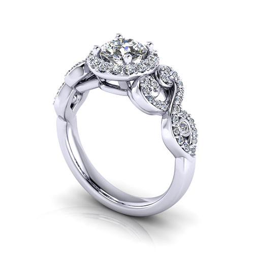 Scrolling Halo Engagement Ring