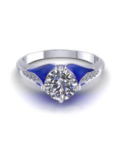 Blue Plique A Jour Engagement Ring