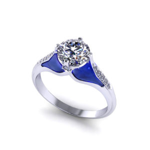 Blue Plique A Jour Engagement Ring