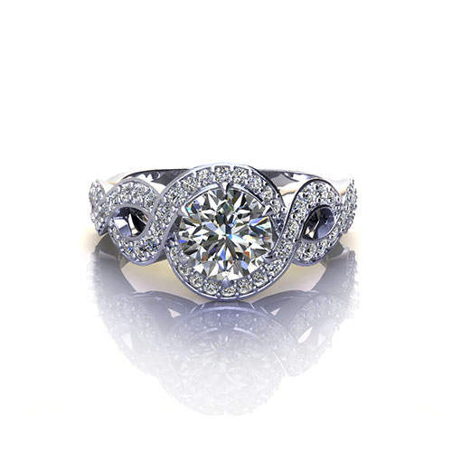 Halo Crossover Engagement Ring
