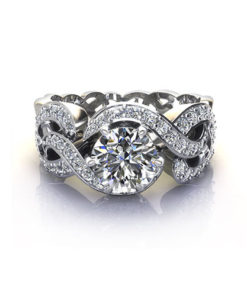 Wide Woven Engagement Ring-H