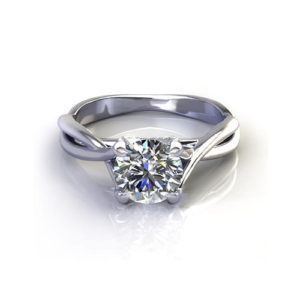 Crossover Scrolled Engagement Ring