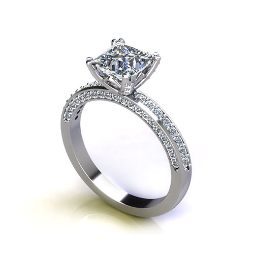 Platinum Princess Engagement Ring angle
