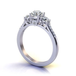 Three Stone Filigree Engagement Ring
