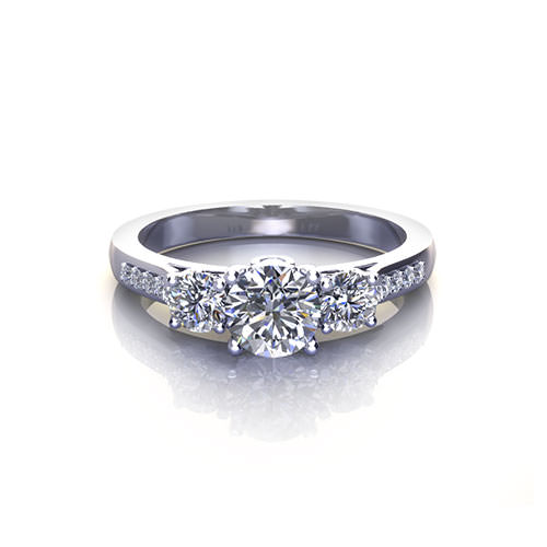 Three Stone Filigree Engagement Ring
