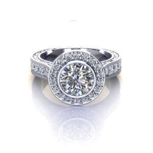 Bridged Halo Engagement Ring