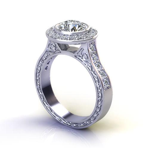 Bridged Halo Engagement Ring