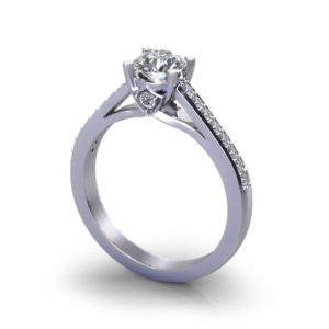 Bridged Four Prong Engagement Ring