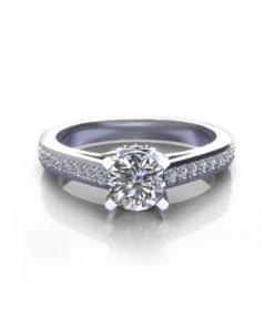 Bridged Four Prong Engagement Ring