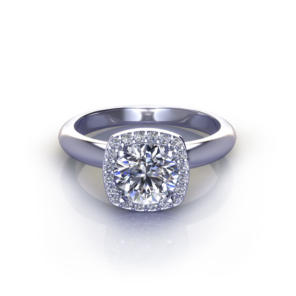 Round Cushion Halo Engagement Ring