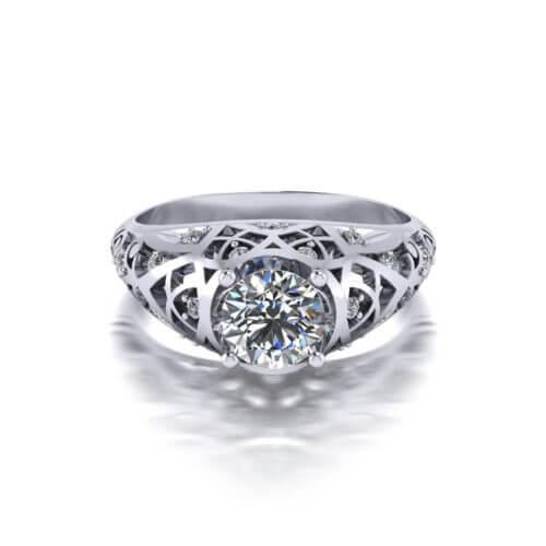 Diamond Filigree Engagement Ring