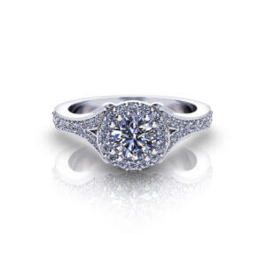 Split Halo Engagement Ring