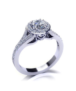 Split Halo Engagement Ring-angle