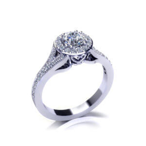 Split Halo Engagement Ring-angle