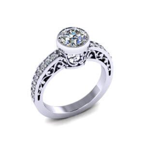 Filigree Bezel Engagement Ring