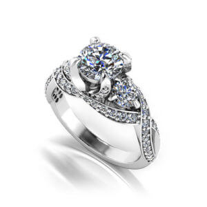 Three Stone Designer Engagement Ring