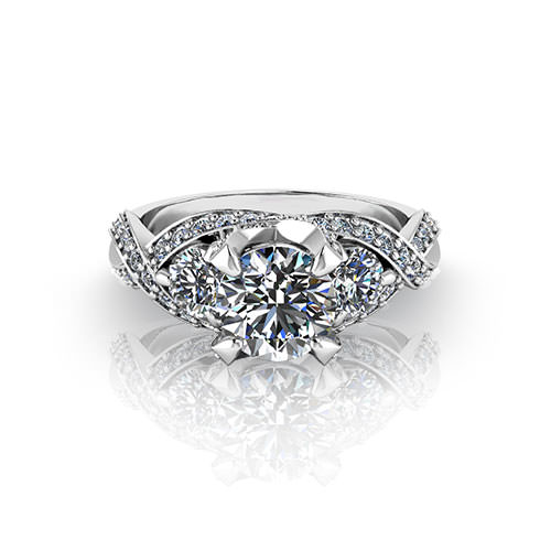 Three Stone Designer Engagement Ring