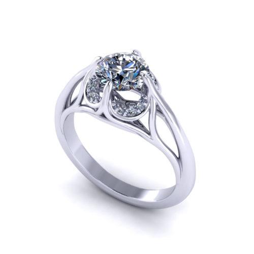 Fluted Diamond Engagement Ring
