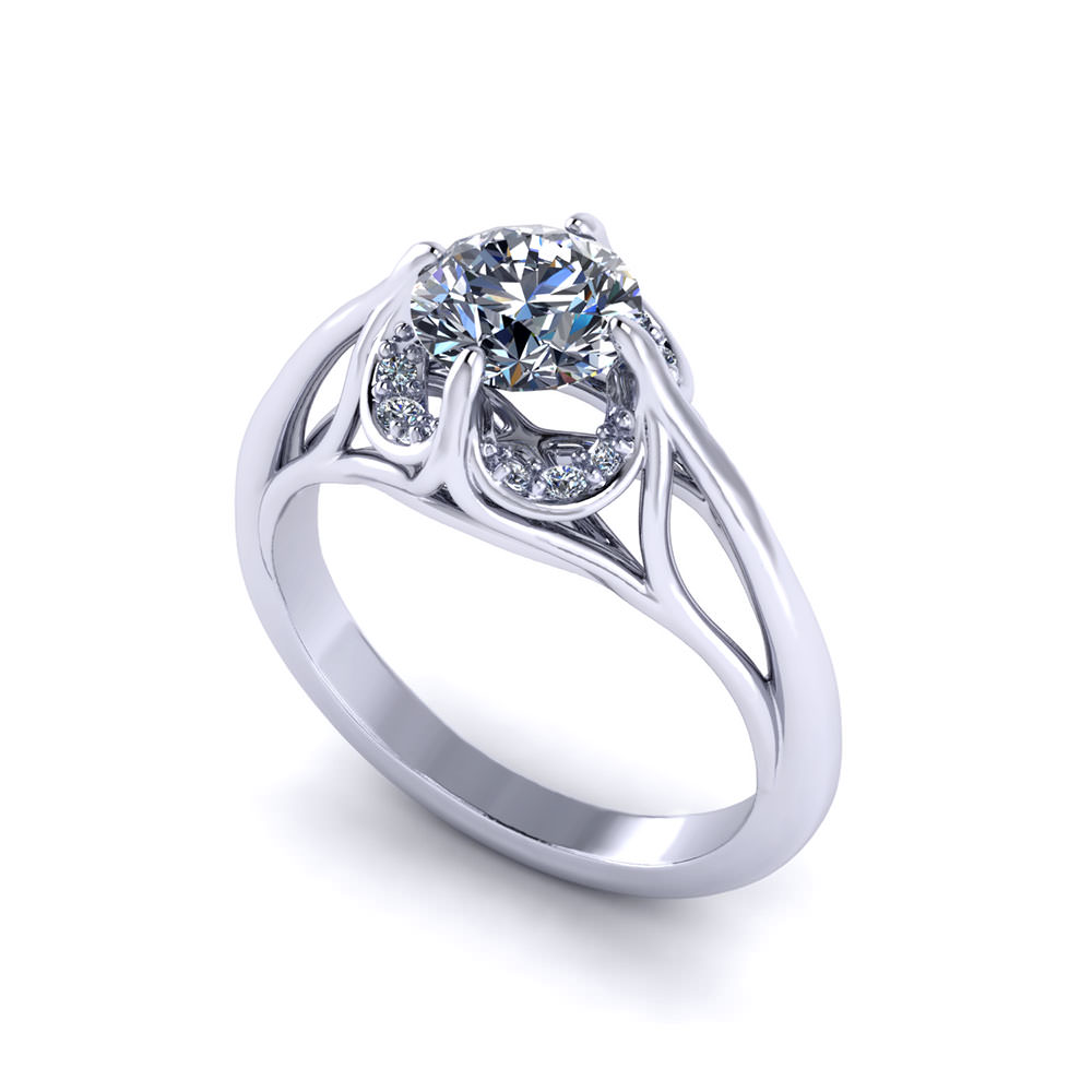 Fluted Diamond Engagement Ring
