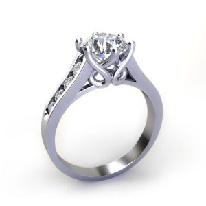 Six Prong Trellis Engagement Ring