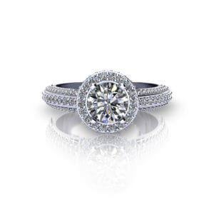 Beveled Halo Engagement Ring top view
