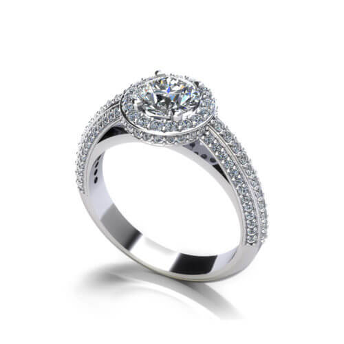 Beveled Halo Engagement Ring