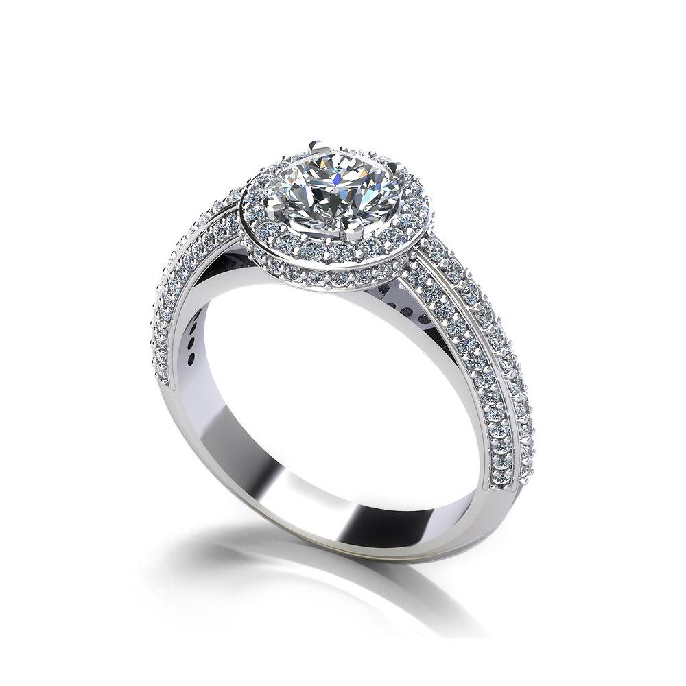 Beveled Halo Engagement Ring