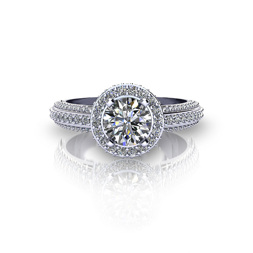 Beveled Halo Engagement Ring Jewelry Designs
