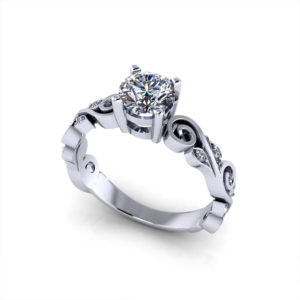 Whimsical Scrolling Engagement Ring