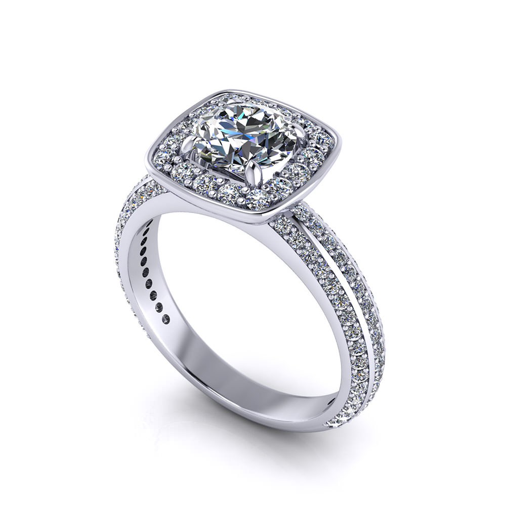 Squared Halo Engagement Ring