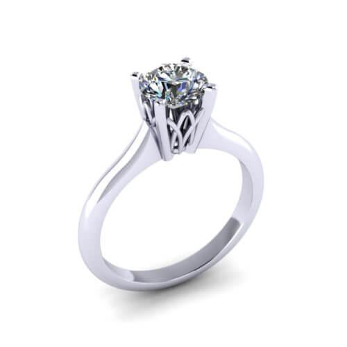 Lattice Solitaire Engagement Ring