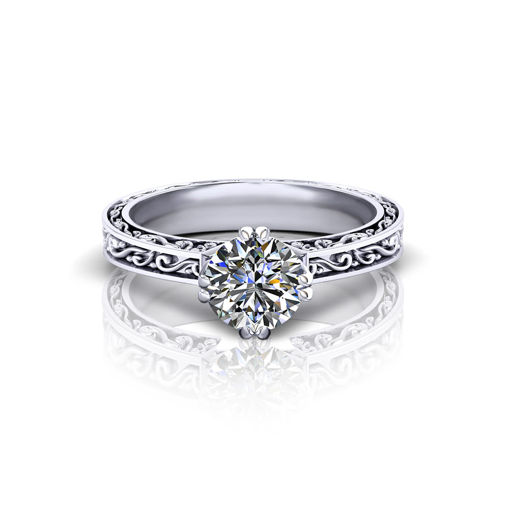 Vintage Embossed Engagement Ring Jewelry Designs