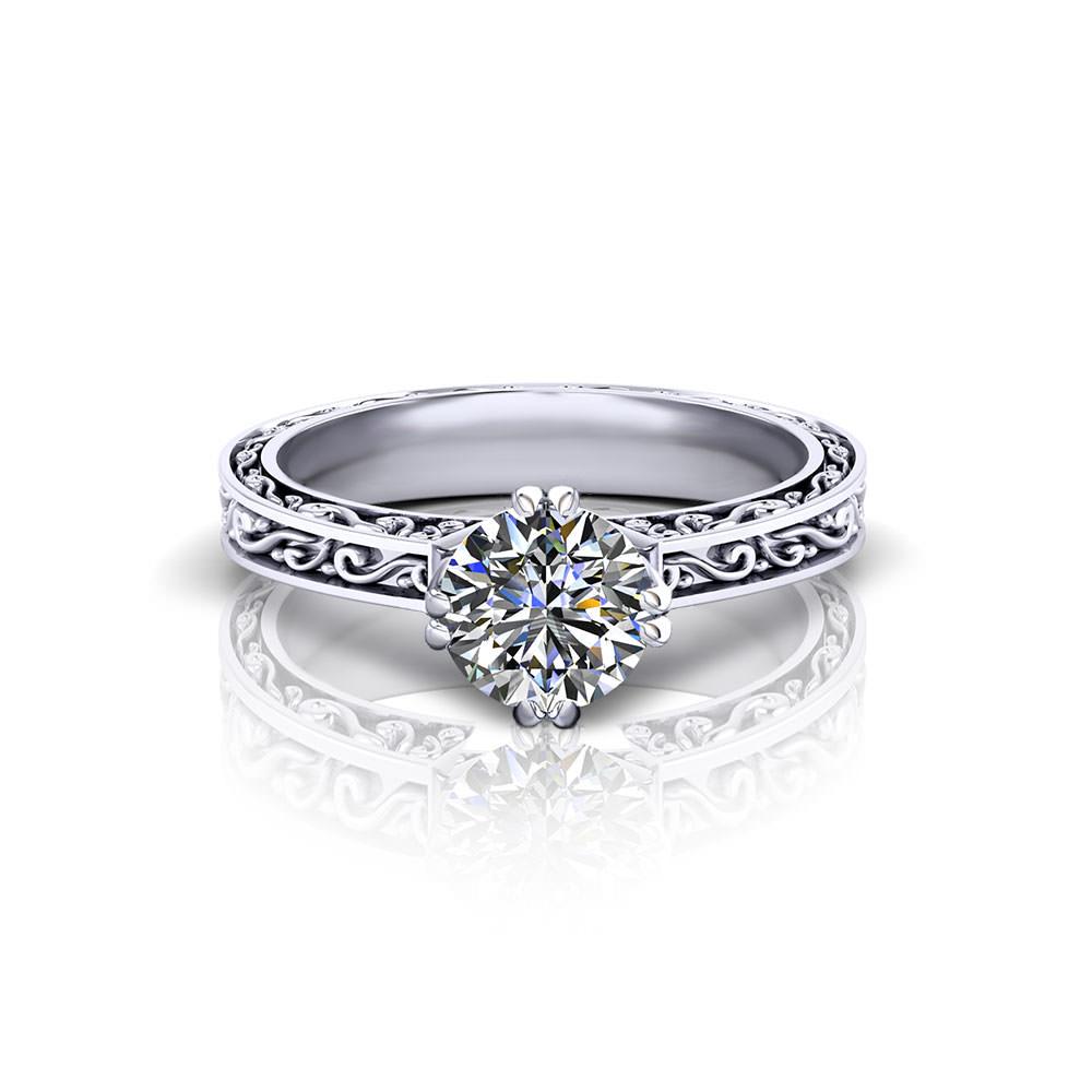 Vintage Embossed Engagement Ring