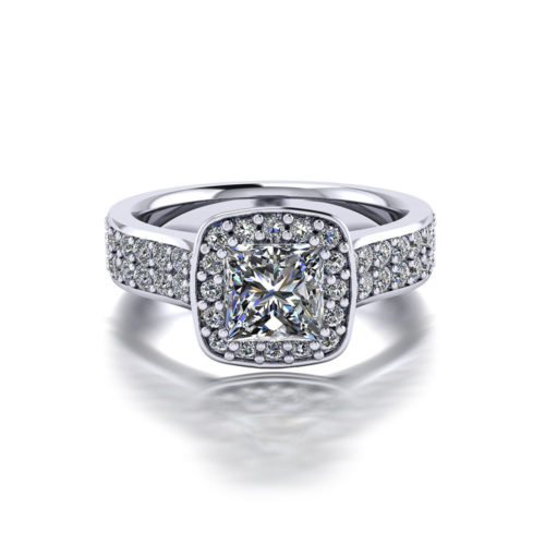 Princess Pave Halo Engagement Ring