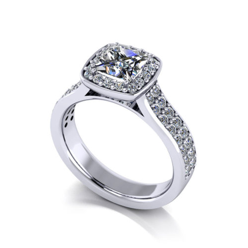 Princess Pave Halo Engagement Ring