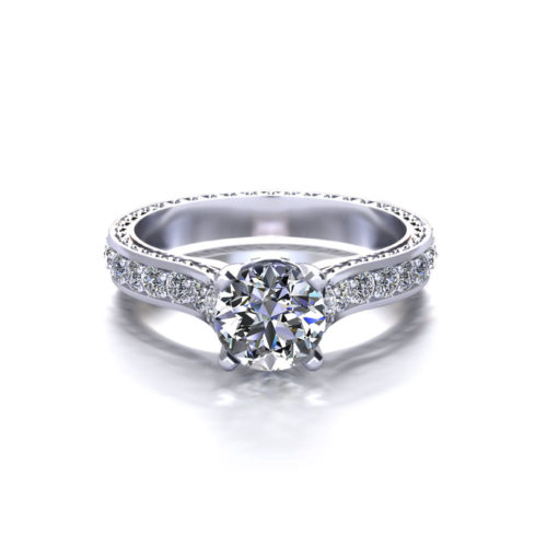 Embossed Round Engagement Ring