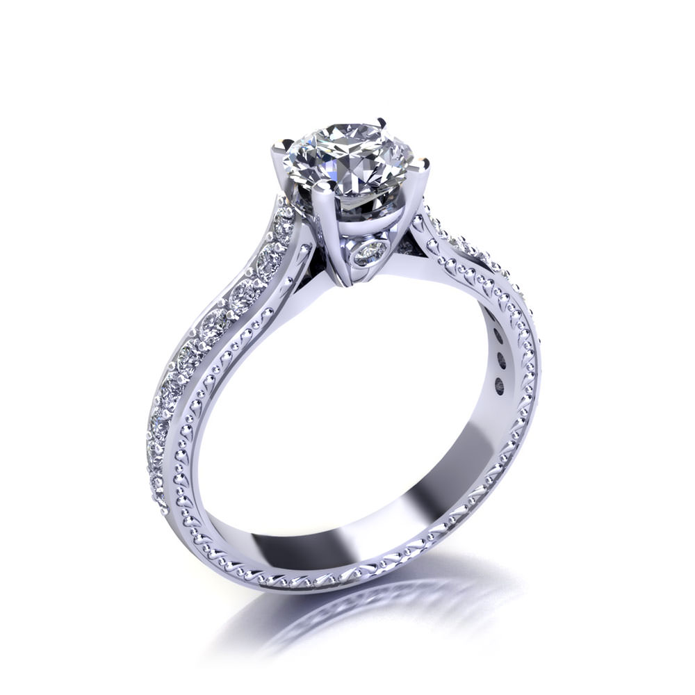 Embossed Round Engagement Ring-angle