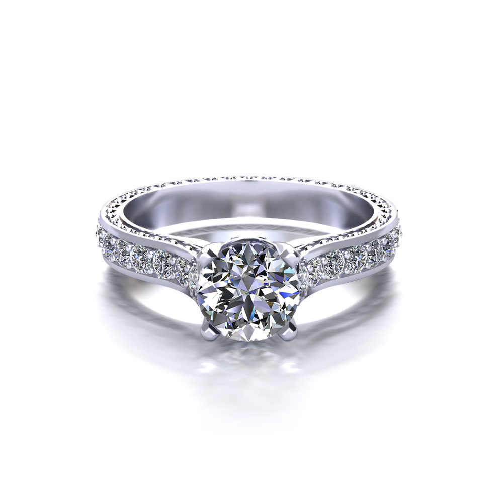 Embossed Round Engagement Ring Jewelry Designs