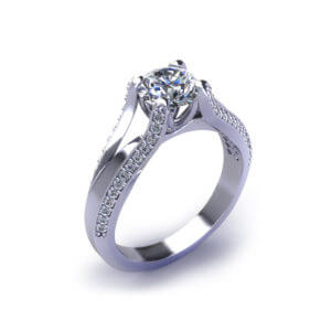 Split Diamond Engagement Ring